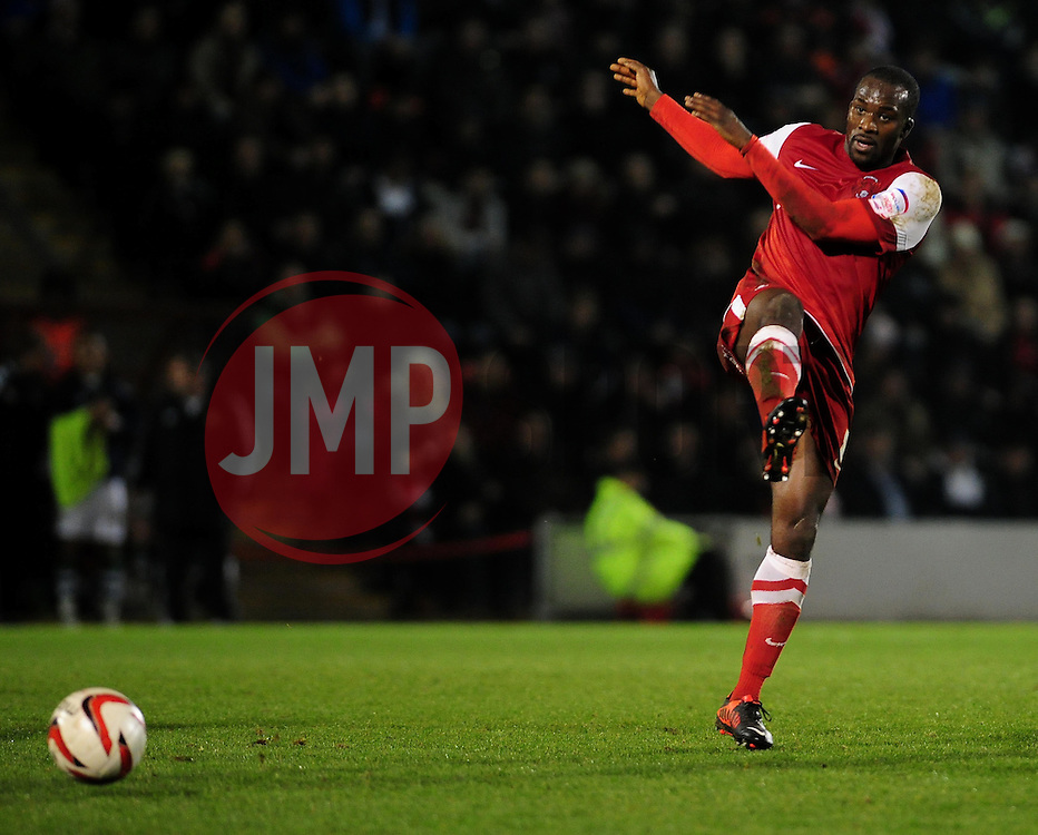 Leyton Orient's Anthony Griffith kicks the ball away after the referee gives Yeovil Town a free kick - Photo mandatory by-line: Dougie Allward/JMP - Tel: Mobile: 07966 386802 09/01/2013 - SPORT - FOOTBALL - Matchroom Stadium - London -  Leyton Orient v Yeovil Town - Johnstone's Paint Trophy Southern area semi-final.