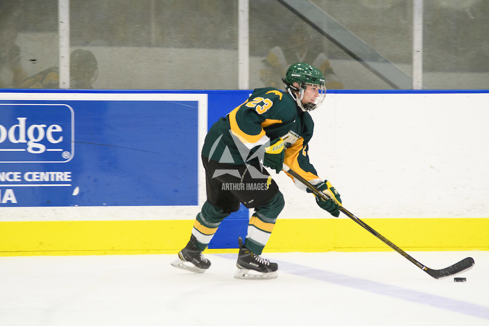 2nd year defender Tamara McVannel (23) of the Regina Cougars in action during the preseason Cougars Alumni Game on September 30 at Co-Operators Centre. Credit: Arthur Ward/Arthur Images