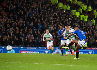 Football - 2019 Betfred Scottish League Cup Final - Celtic vs. Rangers<br /> <br /> Alfredo Morelos of Rangers misses a penalty to level the match, Hampden Park Glasgow.<br /> <br /> COLORSPORT/BRUCE WHITE