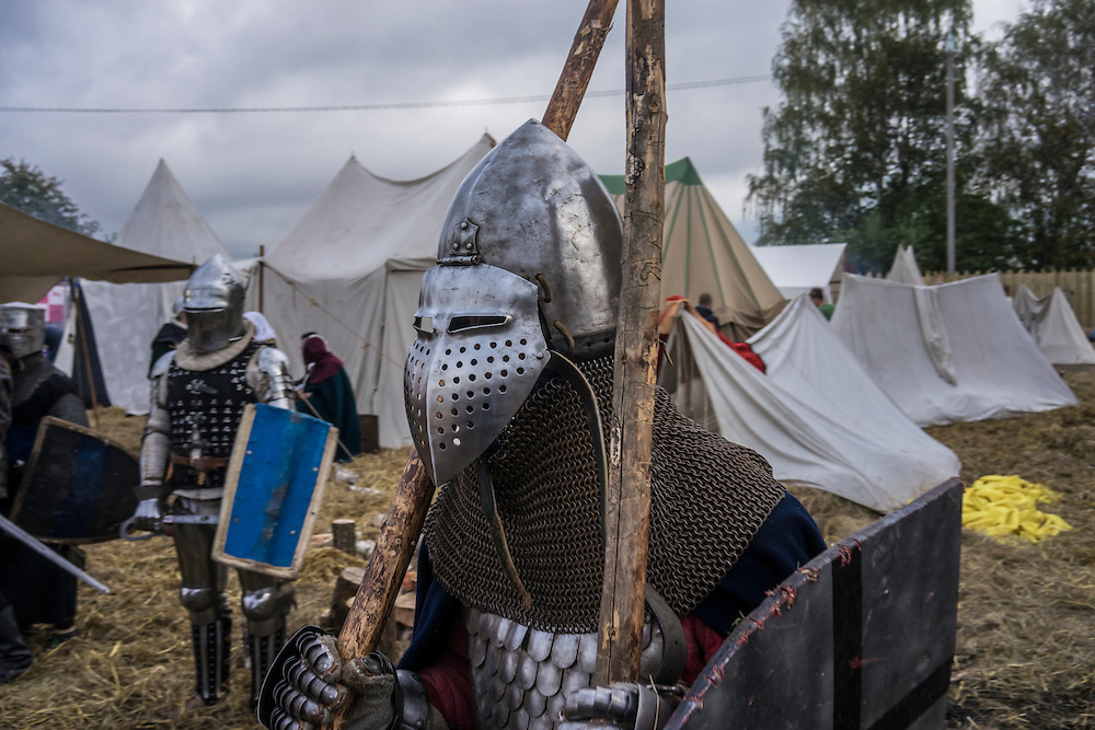 Men dressed in armor during a medieval festival on Saturday, September 24, 2016 in Mstislavl, Belarus.