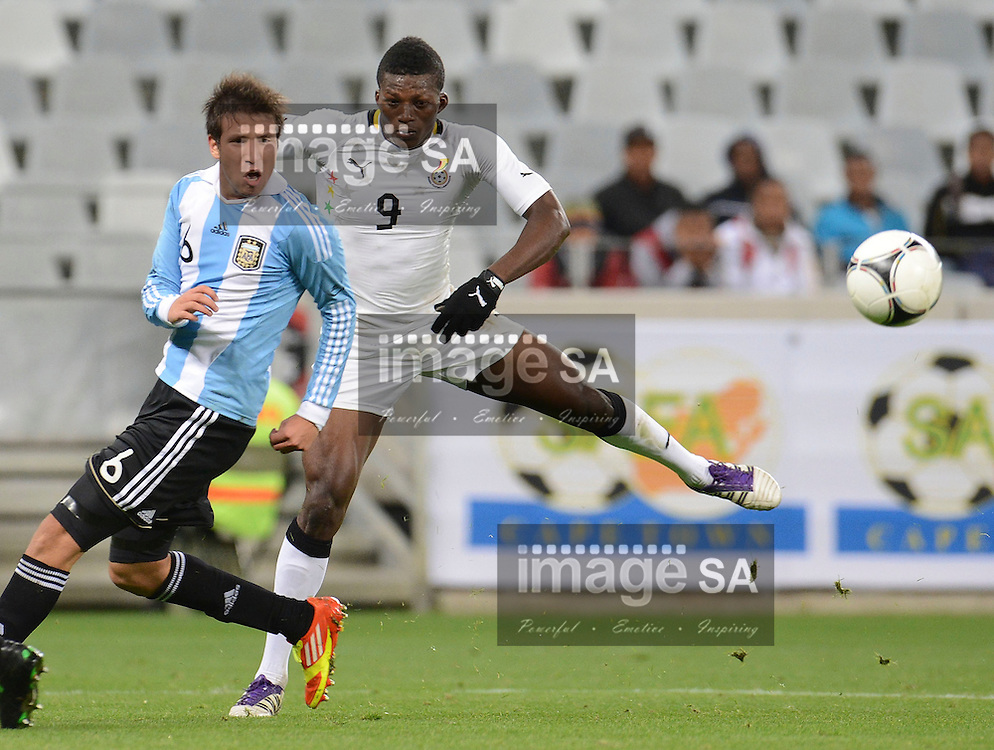 CAPE TOWN, SOUTH AFRICA: Tuesday 29 May 2012, JONATHAN VALLE of Argentina and BENJAMIN ANNAN-FADI of Ghana during the under 20 Cape Town International Soccer Challenge between Argentina and Ghana at the Cape Town Stadium..Photo by Roger Sedres/ImageSA