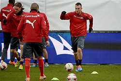04.03.2014, AFG Arena, St. Gallen, SUI, Training der Schweizer Nationalmannschaft, vor dem Testspiel gegen Kroatien, im Bild Michael Lang (L), Josip Drmic (SUI) // during a practice session of swiss national football team prior to the international frindley against Croatia at the AFG Arena in St. Gallen, Switzerland on 2014/03/04. EXPA Pictures © 2014, PhotoCredit: EXPA/ Freshfocus/ Andy Mueller<br /> <br /> *****ATTENTION - for AUT, SLO, CRO, SRB, BIH, MAZ only*****