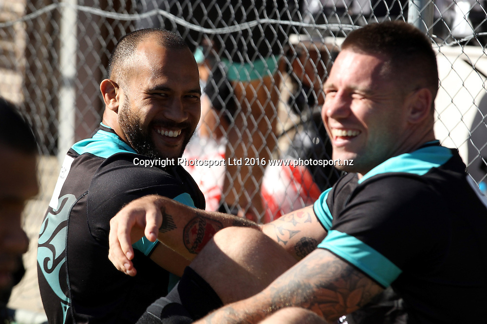 Sam Moa with Shaun Kenny Dowall<br /> NZRL Training for the test match at Old Saleyards Reserve, North Parramatta Australia. Tuesday 3 May 2016. Photo: Paul Seiser/Photosport.nz