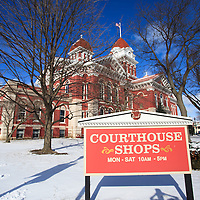 Courthouse Shops Sign at Lake County Courthouse in Crown Point Indiana photo. The Lake County Courthouse was built in 1878 and is nicknamed The Grand Old Lady. The courthouse architecture is Romanesque and Georgian. Today it's used for events and has a ballroom and restaurants.