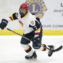 WELLINGTON, ON - FEBRUARY 9: Zack Uens #7 of the Wellington Dukes follows the play during the first period on February 9, 2019 at Wellington and District Community Centre in Wellington, Ontario, Canada.<br /> (Photo by Tim Bates / OJHL Images)