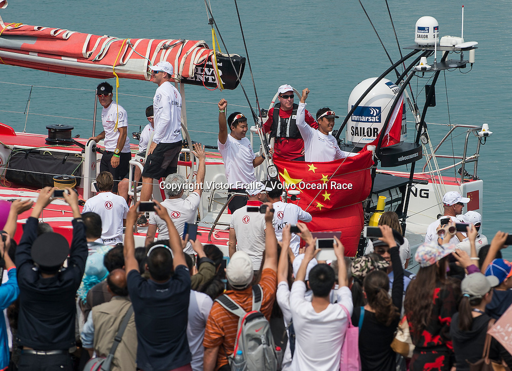 February 08, 2015. Start of Leg 4 from Sanya to Auckland. Sailors say goodbye to their beloved ones before departure.