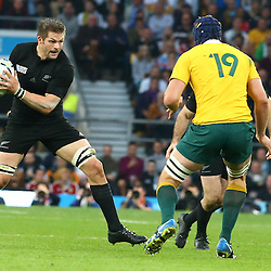 LONDON, ENGLAND - OCTOBER 31: Richie McCaw (captain) of New Zealand during the Rugby World Cup Final match between New Zealand vs Australia Final, Twickenham, London on October 31, 2015 in London, England. (Photo by Steve Haag)