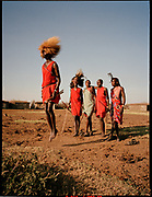 Maasai Men Perform, Maasai Mara, Kenya, July, 2002