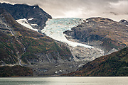 Serpentine glacier in Barry Arm in Harriman Fjord, near Whittier, Alaska. The glacier has retreaded dramatically from a tidewater glacier to becoming a hanging glacier.