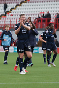 29th September 2018, Hope CBD Stadium, Hamilton, Scotland; Ladbrokes Premiership football, Hamilton versus Dundee; Andy Boyle of Dundee applauds the fans at the end of the match