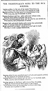 Florence Nightingale (1820 -1910) English nurse tending a sick soldier in the Crimea. From 'Punch', London, 1854. Crimean War 1853-1856. Wood engraving