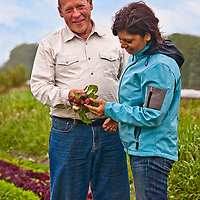 Ecochefs' president Sonya Kaute and Ontario organic farmer David Cohlmeyer at his Cookstown Greens farm.