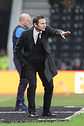 Derby County manager Frank Lampard gestures during the EFL Sky Bet Championship match between Derby County and Wigan Athletic at the Pride Park, Derby, England on 5 March 2019.