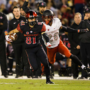 10 November 2018: San Diego State Aztecs wide receiver Ethan Dedeaux (81) breaks free for a large gain after catching a pass in the third quarter. The Aztecs lost 27-24 to UNLV Saturday night at SDCCU Stadium falling a game behind Fresno State in the conference standings.