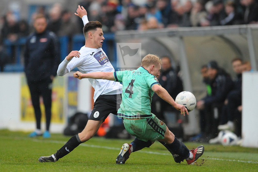 TELFORD COPYRIGHT MIKE SHERIDAN Ryan Barnett of Telford battles for the ball with Jamie Chandler of Spennymoor during the Vanarama National League Conference North fixture between AFC Telford United and Spennymoor Town on Saturday, November 16, 2019.<br /> <br /> Picture credit: Mike Sheridan/Ultrapress<br /> <br /> MS201920-030