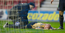 Wigan, England - Sunday, January 21, 2007: Everton's Andy Johnson lies injured during the Premier League match against Wigan Athletic at the JJB Stadium. (Pic by David Rawcliffe/Propaganda)