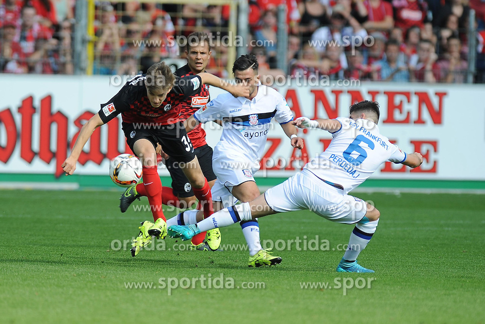 27.09.2015, Schwarzwald Stadion, Freiburg, GER, 2. FBL, SC Freiburg vs FSV Frankfurt, 9. Runde, im Bild (l.) Lucas Hufnagel (SC Freiburg) im Zweikampf, Aktion, mit (r.) Fanol Perdedaj (FSV Frankfurt) // during the 2nd German Bundesliga 9th round match between SC Freiburg and FSV Frankfurt at the Schwarzwald Stadion in Freiburg, Germany on 2015/09/27. EXPA Pictures &copy; 2015, PhotoCredit: EXPA/ Eibner-Pressefoto/ Laegler<br /> <br /> *****ATTENTION - OUT of GER*****