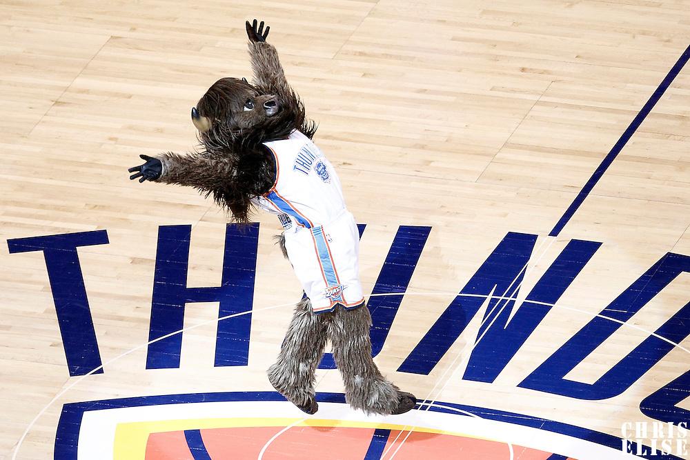 14 June 2012: Oklahoma City Thunder Mascot Rumble The Buffalo is seen during the Miami Heat 100-96 victory over the Oklahoma City Thunder, in Game 2 of the 2012 NBA Finals, at the Chesapeake Energy Arena, Oklahoma City, Oklahoma, USA.