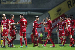April 17, 2018 - Lier, BELGIUM - Essevee's Theo Bongonda celebrates after scoring during the Jupiler Pro League match between Lierse SK and SV Zulte Waregem, in Lier, Tuesday 17 April 2018, on day four of the Play-Off 2A of the Belgian soccer championship. BELGA PHOTO BRUNO FAHY (Credit Image: © Bruno Fahy/Belga via ZUMA Press)