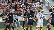 North Carolina Courage forward Kristen Hamilton (23) and Olympique Lyonnais defender Wendie Renard (3) go up for a header during an International Champions Cup women's soccer game, Sunday, Aug. 18, 2019, in Cary, Olympique Lyonnais bested the North Carolina Courage 1-0 in the finals.  (Brian Villanueva/Image of Sport)