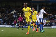 AFC Wimbledon striker Tom Elliott (9) scores a goal 2-2 and celebrates during the The Emirates FA Cup 1st Round match between Bury and AFC Wimbledon at the JD Stadium, Bury, England on 5 November 2016. Photo by Stuart Butcher.