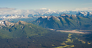 Aerial view of the Redoubt Volcano, shrouded in the clouds. Lake Clark National Park, Alaska.
