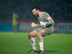 STEVENAGE, ENGLAND - Saturday, November 24, 2012: Stevenage's goalkeeper Steve Arnold celebrates his side's injury time equalising goal against Tranmere Rovers during the Football League One match at Broadhall Way. (Pic by David Rawcliffe/Propaganda)