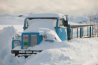 Truck is snowed in Flakstadoya Loftofen Norway