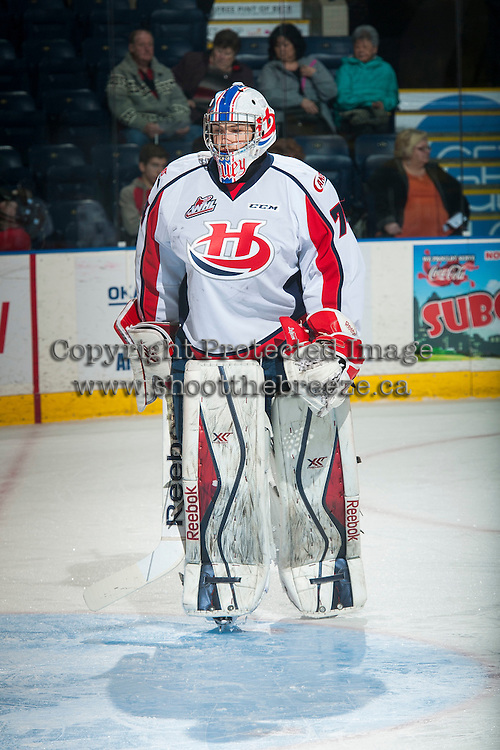 KELOWNA, CANADA - OCTOBER 31: Stuart Skinner #74 of Lethbridge Hurricanes warms up against the Kelowna Rockets on October 31, 2015 at Prospera Place in Kelowna, British Columbia, Canada.  (Photo by Marissa Baecker/Shoot the Breeze)  *** Local Caption *** Stuart Skinner;