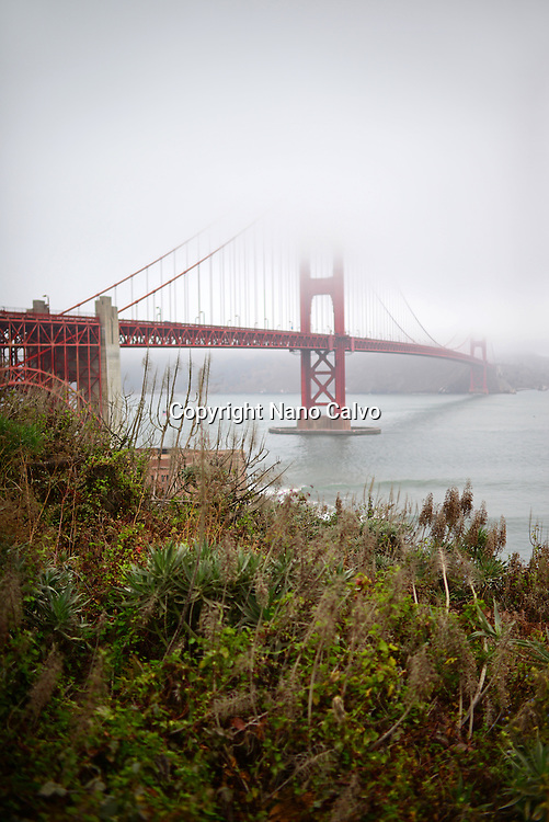 Morning view of popular Golden Gate Bridge, San Francisco.