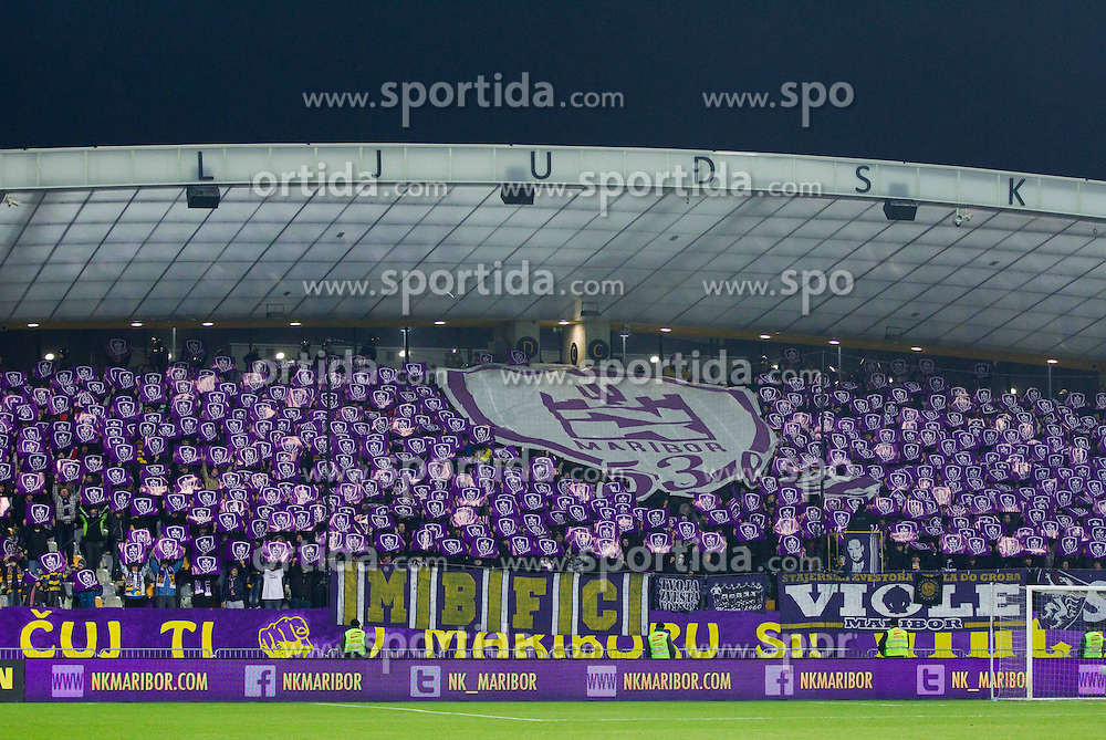 Viole, fans of Maribor prior to the football match between NK Maribor and Wigan Athletic FC (ENG) in Round 6 of Group D of UEFA Europa League 2014, on December 12, 2013 in Stadion Ljudski vrt, Maribor, Slovenia. Maribor won against Wigan 2-1 and qualified to next Stage. Photo by Vid Ponikvar / Sportida