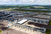 Nederland, Noord-Holland, Haarlemmermeer, 01-08-2016; Schiphol Amsterdam Airport, stationsgebouw met D-pier.<br /> Schiphol Airport, terminal building with gate D.<br /> luchtfoto (toeslag op standaard tarieven);<br /> aerial photo (additional fee required);<br /> copyright foto/photo Siebe Swart