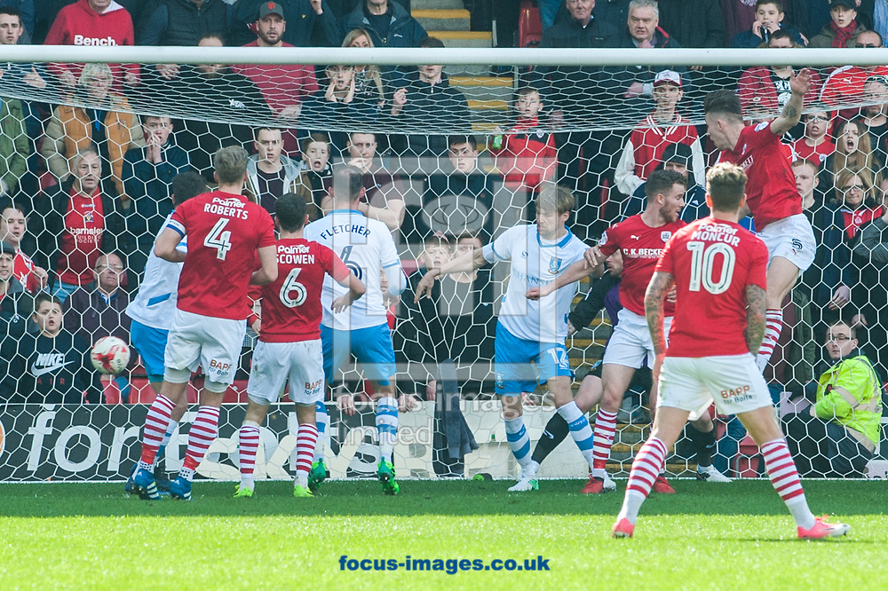 Angus MacDonald of Barnsley (far right) heads his sides late equalizer during the Sky Bet Championship match at Oakwell, Barnsley<br /> Picture by Matt Wilkinson/Focus Images Ltd 07814 960751<br /> 01/04/2017