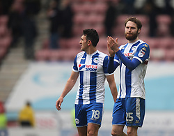 Nick Powell of Wigan Athletic (R) applauds the fans at the final whistle - Mandatory by-line: Jack Phillips/JMP - 30/03/2018 - FOOTBALL - DW Stadium - Wigan, England - Wigan Athletic v Oldham Athletic - Football League One
