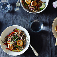 Sesame Noodle Salad with Seared Mushrooms