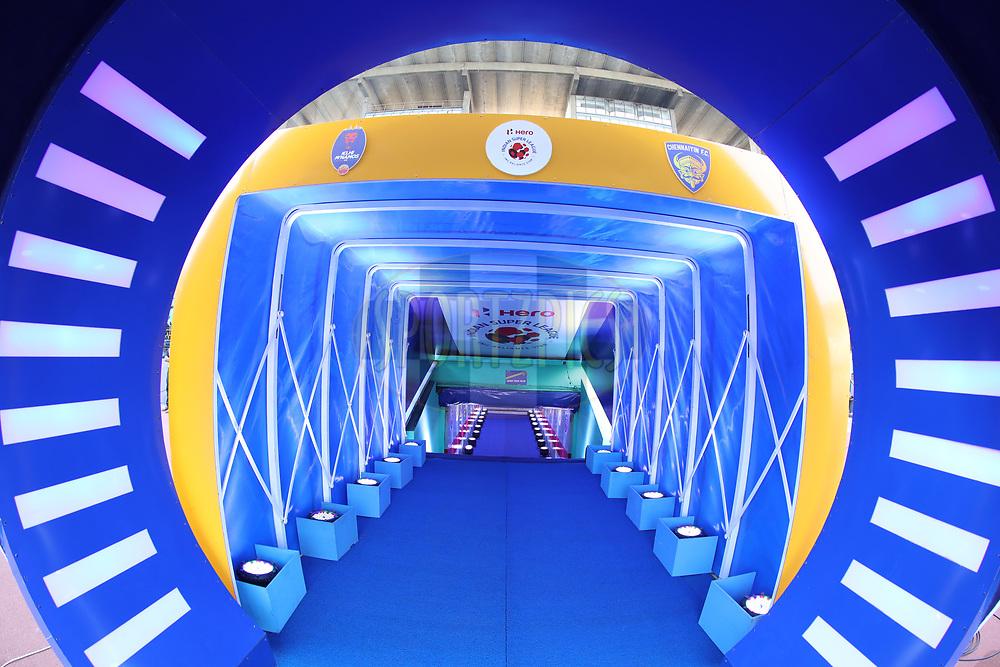 Chennaiyin FC tunnel during match 41 of the Hero Indian Super League between Chennaiyin FC and Delhi Dynamos FC   held at the Jawaharlal Nehru Stadium, Chennai India on the 7th January 2018<br /> <br /> Photo by: Arjun Singh  / ISL / SPORTZPICS