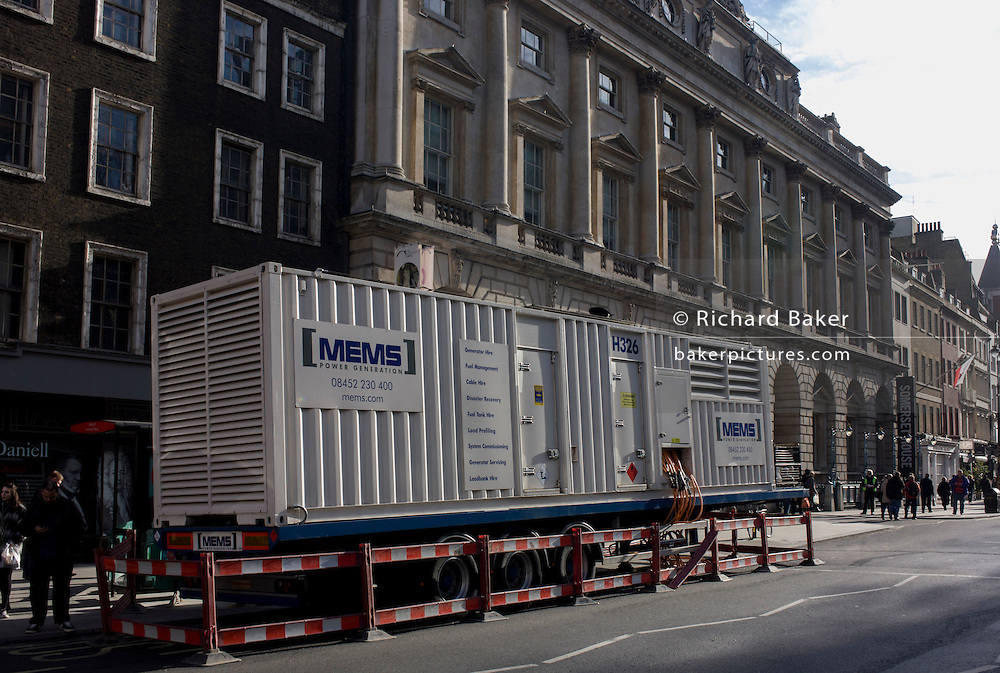 Mems power generator on site to supply electricity to Somerset House in the Strand during the Kingsway fire, April 2015.
