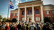 Democratic presidential hopeful U.S. Senator Barack Obama speaks in front of the historic Clarendon County Courthouse Friday Nov. 2, 2007 in Manning, S.C. during a community gathering.  In the 1950s the courthouse was where the lawsuit Briggs v. Elliott was filed to desegregate public schools. The lawsuit was the first of four suits that would later lead to the U.S. Supreme Court overturning racial segregation in U.S. public schools. (AP Photo/Stephen Morton)