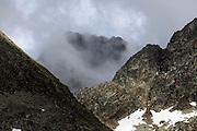 mountain tops with clouds Andorra near Pas de la Casa