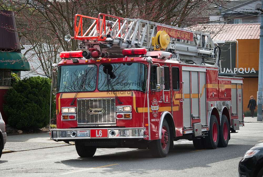 2013 March 19  - Seattle Fire Department Ladder 6 on Queen Anne Ave N, Seattle, WA. Photo by Richard Walker