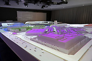 General overall view of replica model of SoFi Stadium at the LA Stadium and Entertainment District Premier Center Experience, Thursday, Sept. 19, 2019, in Playa del Rey, Calif. SoFi Stadium, under construction in Inglewood, Calif., will be the home to the Los Angeles Rams and Los Angeles Chargers and site of Super Bowl LVI in 2022, 2023 College Football National Championship and the opening and closing ceremonies of the 2028 Olympic Games. The venue, privately financed by Rams owner Stan Kroenke, is scheduled to open with concerts by recording artist Taylor Swift on July 25-26, 2020.