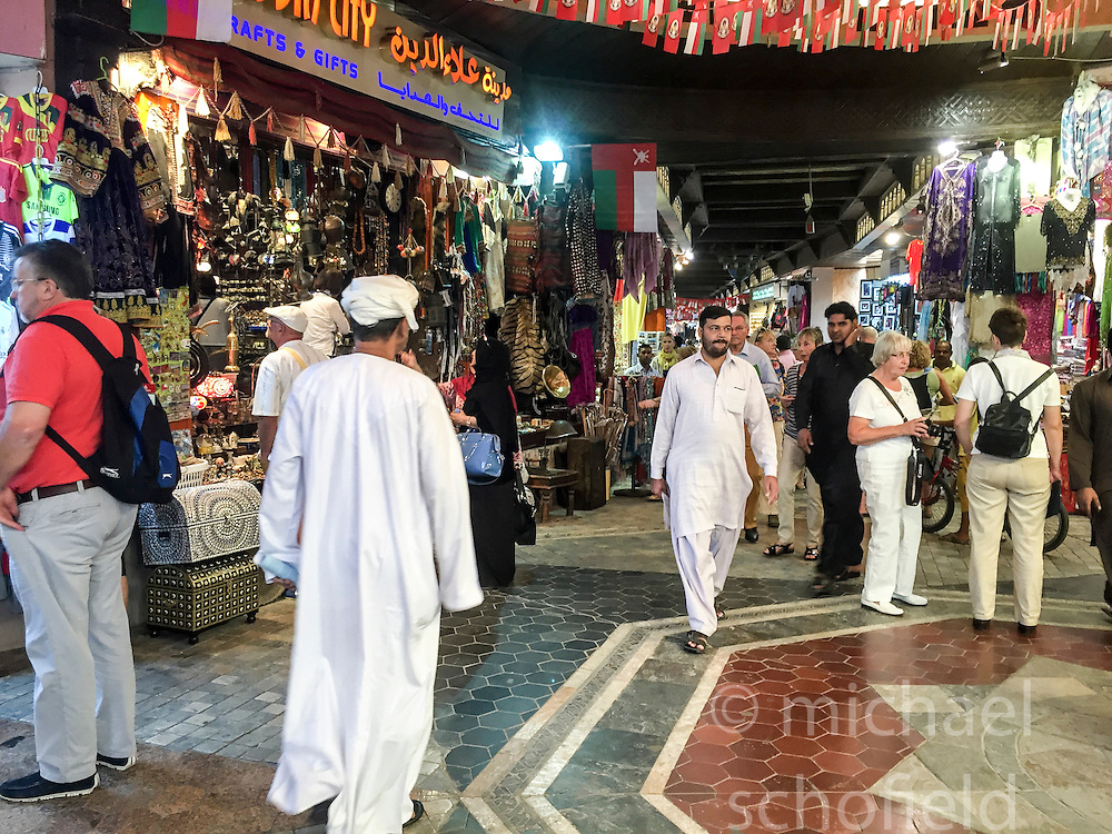 The Muttrah Souk, in the old part of Muscat city. Images from the MSC Musica cruise to the Persian Gulf, visiting Abu Dhabi, Khor al Fakkan, Khasab, Muscat, and Dubai, traveling from 13/12/2015 to 20/12/2015.