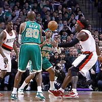 09 March 2012: Boston Celtics shooting guard Ray Allen (20) passes the ball to Boston Celtics small forward Paul Pierce (34) during the Boston Celtics 104-86 victory over the Portland Trail Blazers at the TD Banknorth Garden, Boston, Massachusetts, USA.