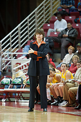16 January 2005<br /> <br /> Shockers Head Coach Jane Albright looks a little disgusted after her plyers blow several follow up shot attempts.<br /> <br /> Illinois State University shuts off the Shockers power in a 76 - 53 stunner.<br /> <br /> Illinois State University Redbirds V Witchita State Shockers Women's MVC, NCAA Basketball.  Redbird Arena, Illinois State University, Normal IL