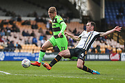 Forest Green Rovers George Williams(11) rides a tackle from Port Vale's Luke Joyce(4)  during the EFL Sky Bet League 2 match between Port Vale and Forest Green Rovers at Vale Park, Burslem, England on 23 March 2019.