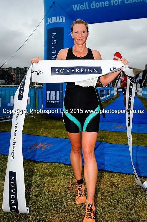 Rebecca Elliot wins the Sovereign Tri Series, Waterfront, Wellington, New Zealand. Saturday 14 March 2015. Copyright Photo: Mark Tantrum/www.Photosport.co.nz
