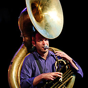 Soubassophone player Manu Loriaux of Fanfare du Belgistan at the Montreal Jazz Festival in Montreal, Canada on 8 July 2009.
