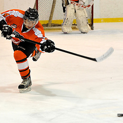 WHITBY, ON - Feb 11: Ontario Junior Hockey League game between Orangeville Flyers and Whitby Fury.  Josh Villaflor of the Orangeville Flyers Hockey Club passes the puck during first period game action.<br /> (Photo by Shawn Muir / OJHL Images)