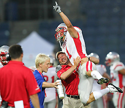 11.07.2011, UPC Arena, Graz, AUT, American Football WM 2011, Group B, Canada (CAN) vs Austria (AUT), im Bild Jakob Dieplinger (Austria, #1, WR) celebrates his touchdown // during the American Football World Championship 2011 Group B game, Canada vs Austria, at UPC Arena, Graz, 2011-07-11, EXPA Pictures © 2011, PhotoCredit: EXPA/ T. Haumer