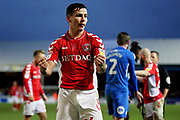 Charlton midfielder Josh Cullen (24) celebrates after winning a penalty during the EFL Sky Bet League 1 match between Peterborough United and Charlton Athletic at London Road, Peterborough, England on 26 January 2019.